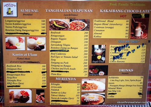 Choco-Late de Batirol menu