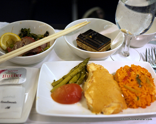 Philippine Airlines dinner Hkg to Mnl