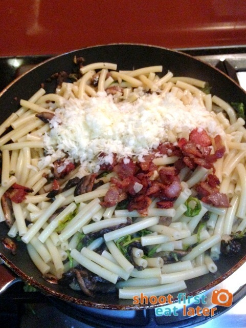 add pasta, cheese & bacon to pasta