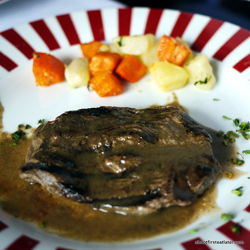 grilled tenderloin steak in pepper sauce