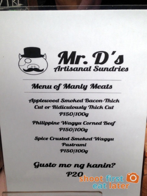Mr. D's Artisinal Sundries menu-001