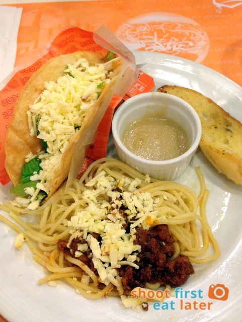 Pancake House- House Specials Set Taco, Spaghetti with Meat Sauce and Garlic Bread, 1pc. Pan Chicken and Iced Tea P257