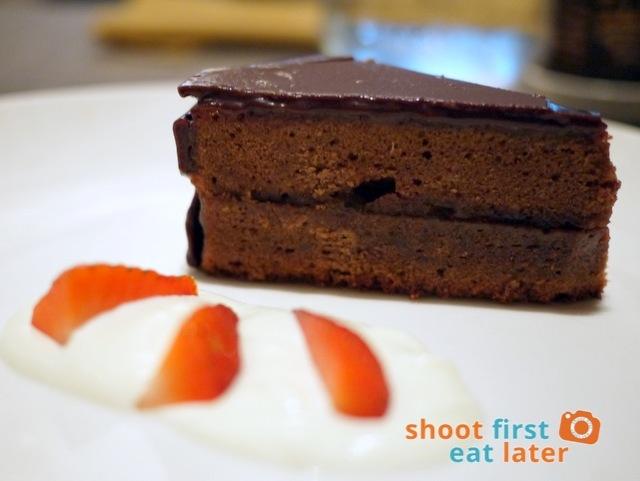 sacher chocolate cake with whipped cream