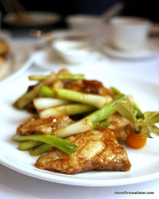 garoupa w/ ginger & mandarin peel in soya sauce