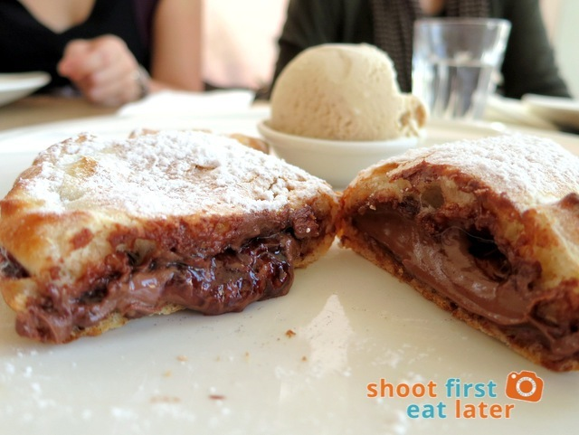 Nutella calzoncino with vanilla bean ice cream