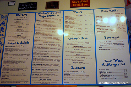 Pelons Baja Grill menu