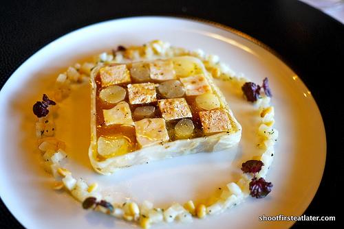 Duck foie gras & chicken terrine w/ salsify in hazlenut dressing