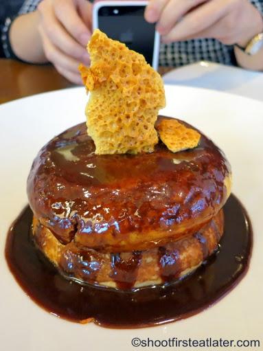 pancakes, honeycomb, coffee cream, butterscotch sauce HK$120