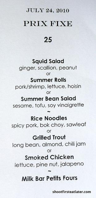 Ma Peche menu prix fixe