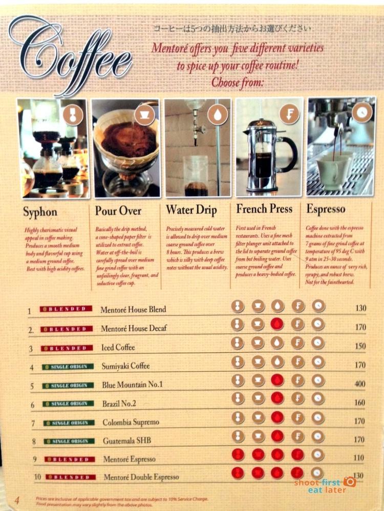 Mentoré Coffee + Bar by UCC coffee menu-001