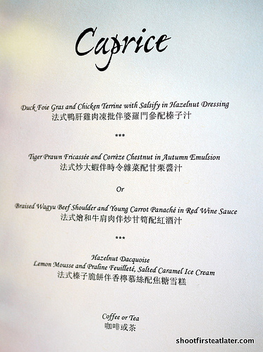 Caprice menu