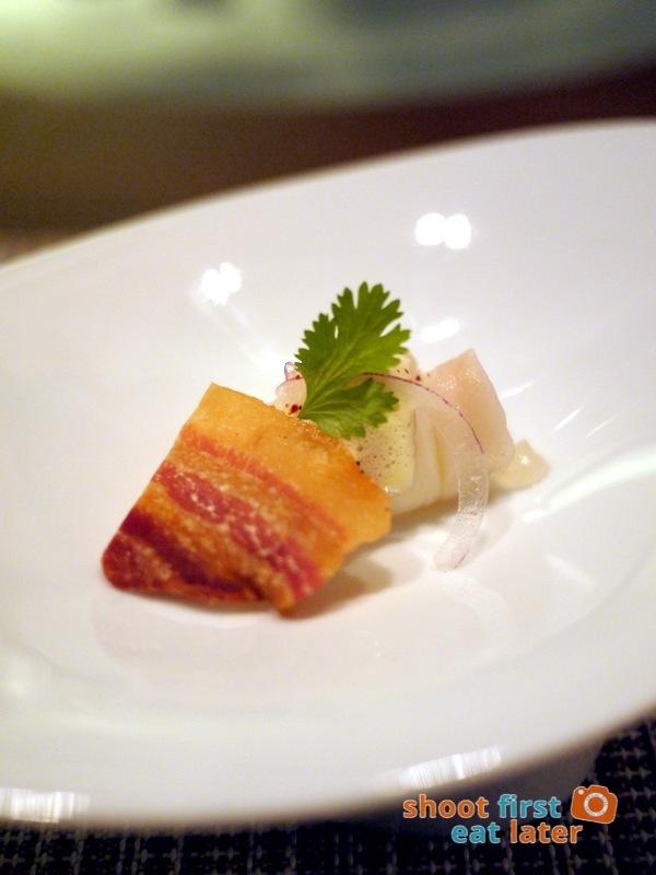 Allium Restaurant - Amuse Bouche - Dorade Ceviche with Dehydrated Kurobota Pork Belly Chip