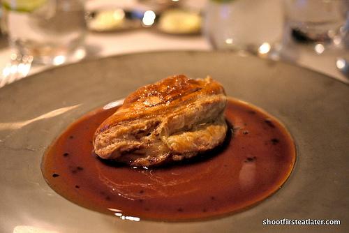 warm duckling & foie gras pie served in puff pastry