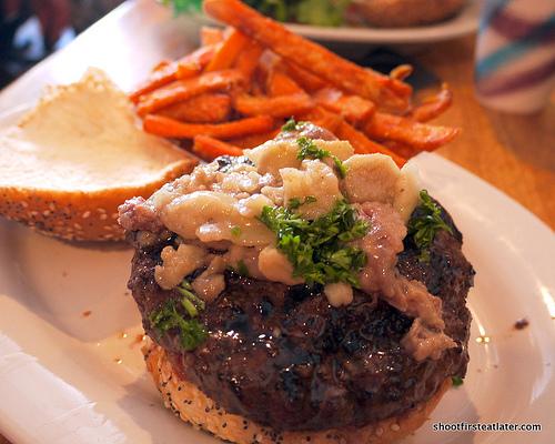 Ray's Hell Burger w/ roasted bone marrow w/ persillade