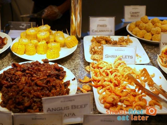 Chef Laudico Guevarra's- Angus beef tapa, shrimplets, calamares, corn