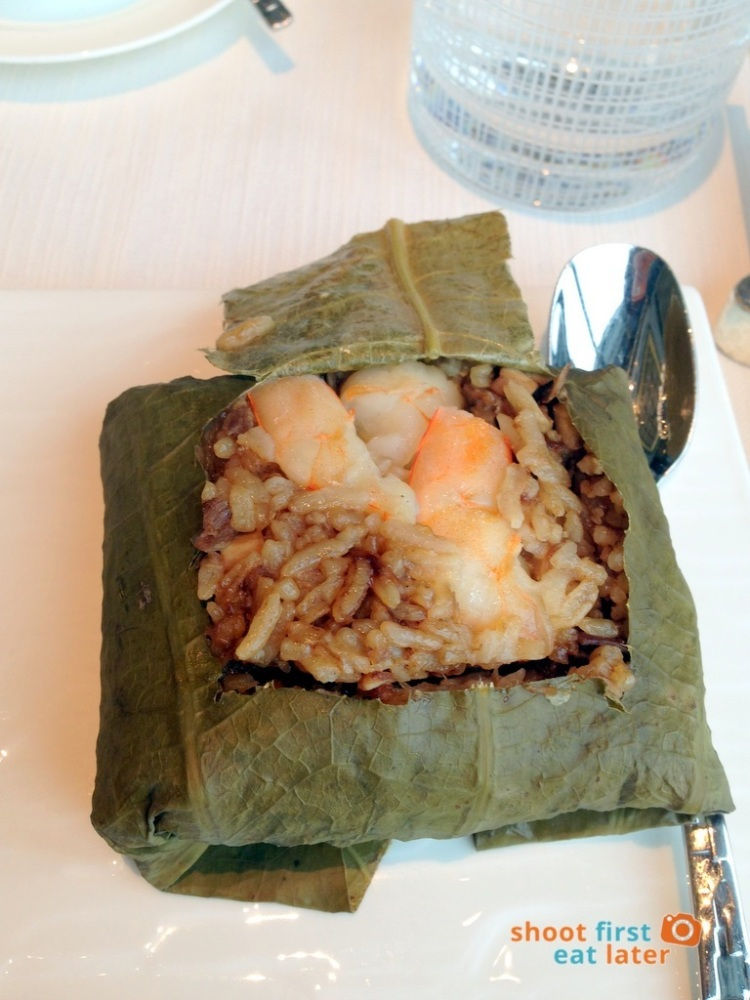 Tin Lung Heen - Wok-Fried Rice with Diced Abalone & Shrimp wrapped in Lotus Leaf