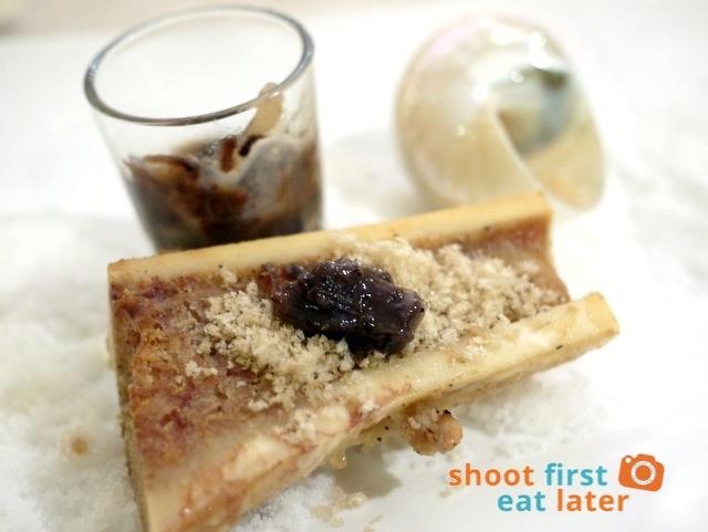 Pepita's Kitchen Hayop na Degustacion- bone marrow with oxtail marmalade & special salt