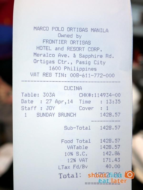 Marco Polo Hotel Ortigas Cucina Restuarant Buffet Sunday brunch price