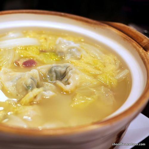 double boiled chicken soup w/ wonton in casserole