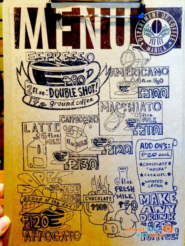 Department of Coffee menu
