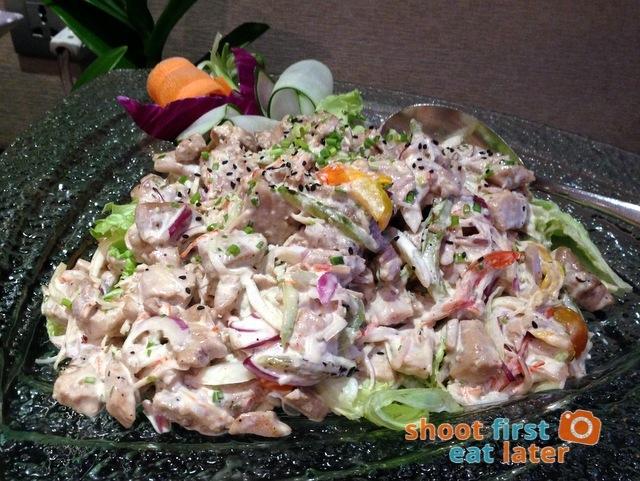 tuna salad with crab stick, crisp greens in miso dressing
