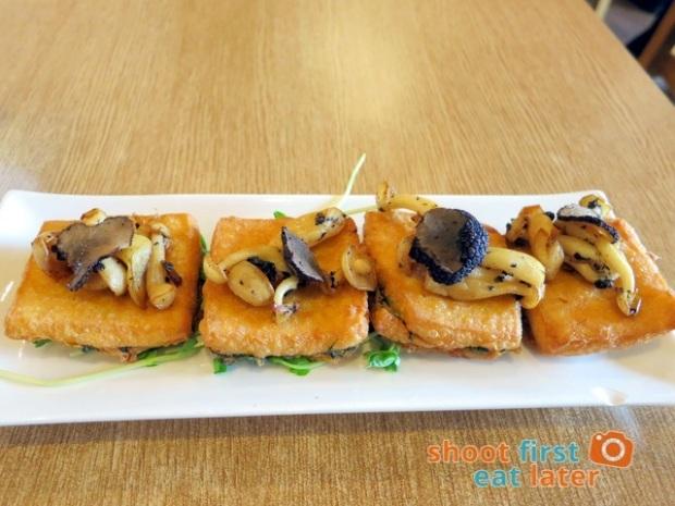 Hainan Shaoye - Homemade egg tofu topped with black truffle & bai ling mushroom