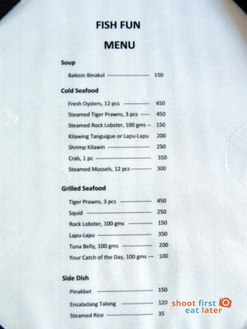 Balesin Fish Fun -menu