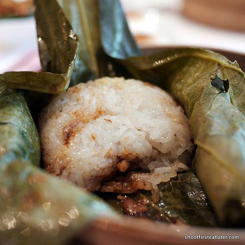glutinous rice in lotus leaf wrap