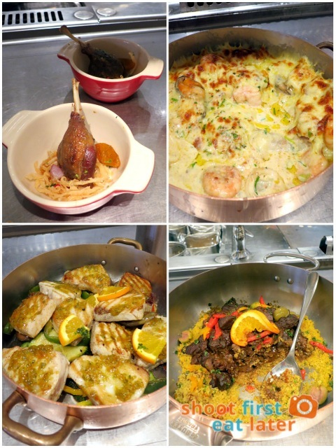 Spiral Buffet- duck confit, seafood gratin, fish and lamb