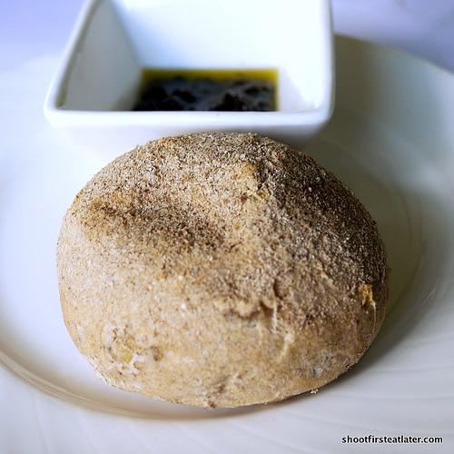 onion rye bread w/ olive tapenade