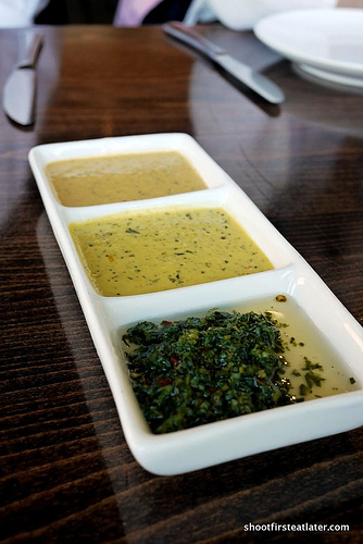 aji amarillo, rocoto aji and chimichuri sauces