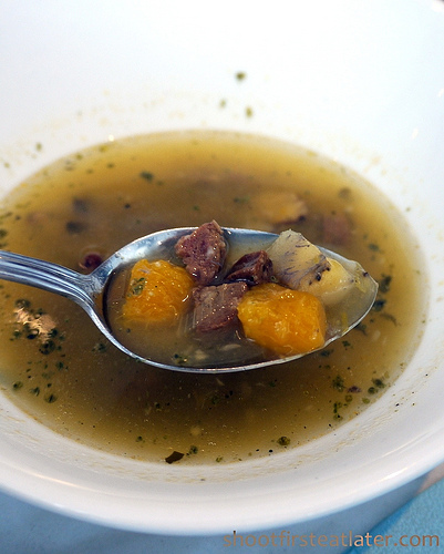 grilled chicken w/ chorizo & saba soup