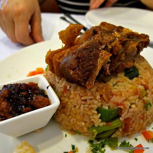 pinakbet rice w/ lechon kawali & chocolate bagoong