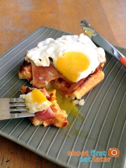 Pegi Waffles- cheese waffle, Deli de San Honore glazed ham and fried egg