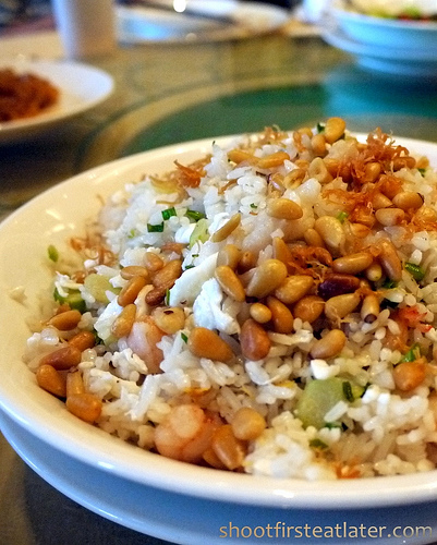 fried rice w/ seafood, egg white, crispy conpoy & pine nuts