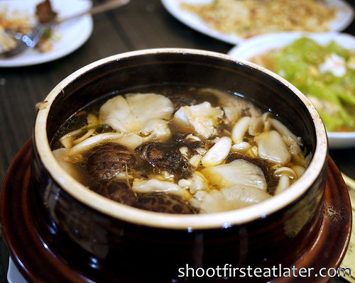 steamed herb mushroom soup