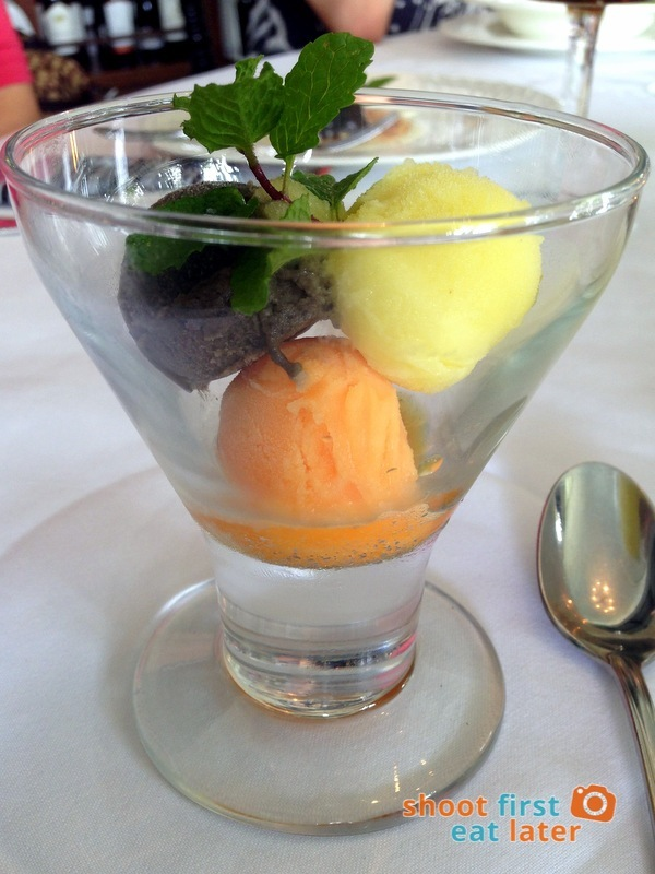 Antonio's Tagaytay- A Trio of Sorbets - Black Olives, Lemon Black Pepper & Mandarin Orange.