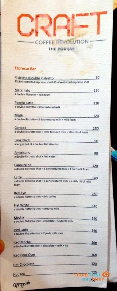 Craft Coffee Revolution Podium menu