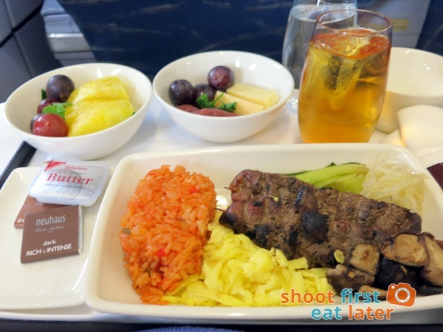 Philippine Airlines business class breakfast - barbecued duck