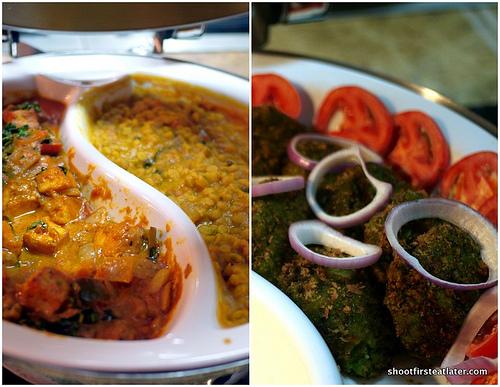 paneer butter masala, dahl, vegetable rangeela kebab