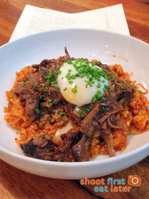 Kimchi Fried Rice with Braised Short Rib and Poached Egg P465