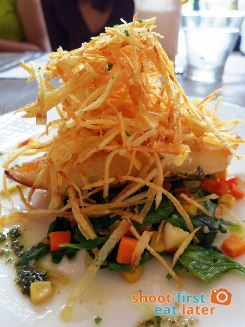 MIZUBE Seared sea bass with potato crisps, served with sautéed spinach and corn P895