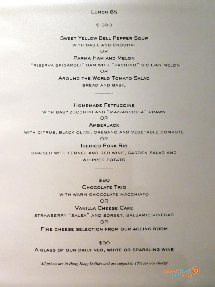 8 1:2 Otto e Mezzo Bombana HK menu