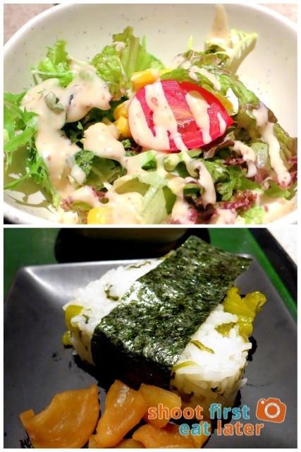 Inaniwa Udon Nabe- side salad & leaf mustard onigiri