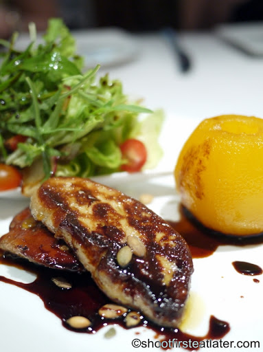 Seared Foie Gras with Asian Pear Confit,  Mesclun Salad & Red Onion Marmalade P1,320 regular portion