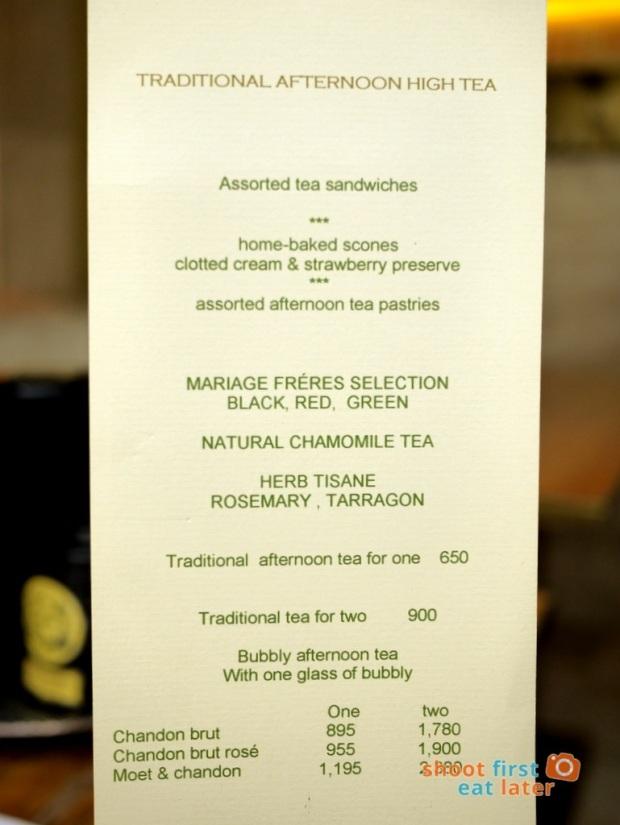 Lusso Afternoon Tea menu