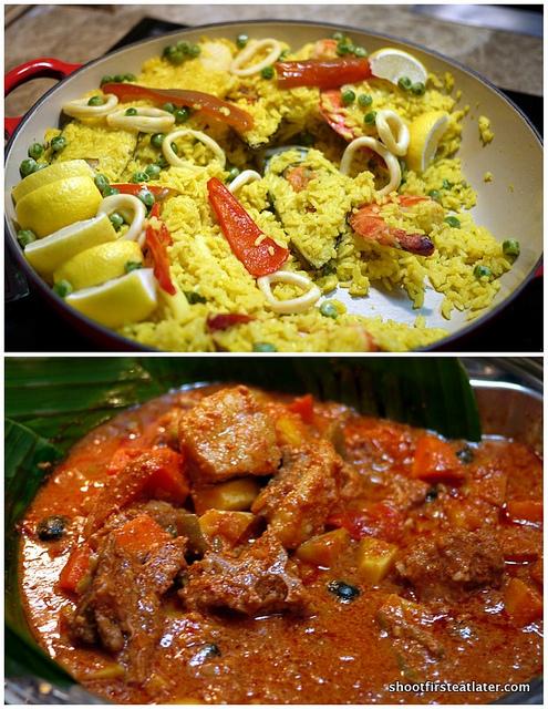 arroz a la cassola & kalderetang kambing