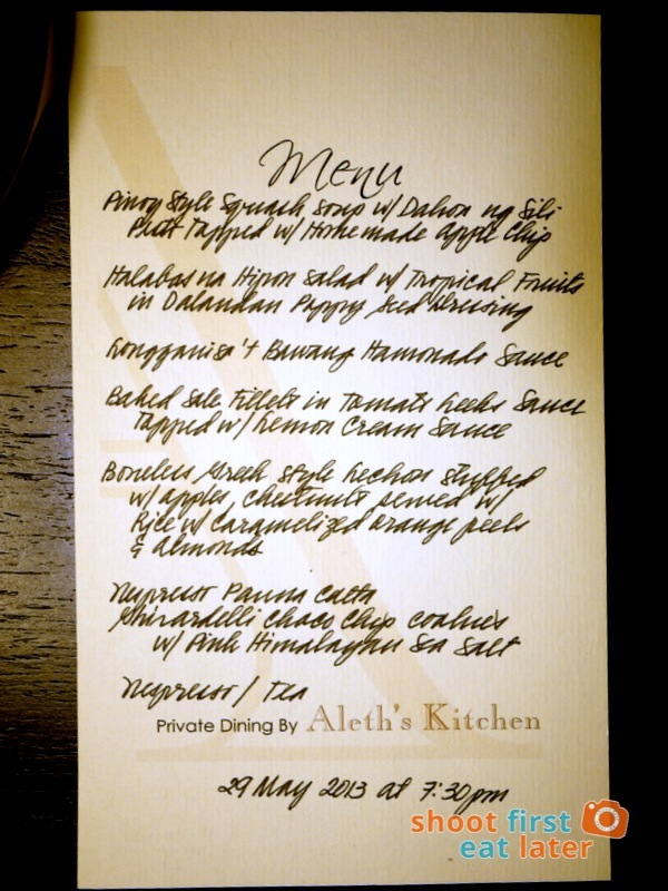 Private Dining by Aleth's Kitchen- dinner menu