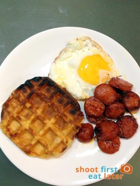 Pegi Waffles- cheese waffle, Calidad Española chorizo Pamplona, fried egg fried egg