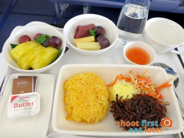 Philippine Airlines business class breakfast - beef adobo flakes